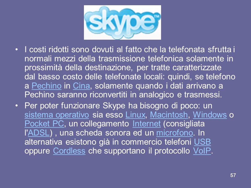 56 Skype funziona sostanzialmente in due modalità: peer- to-peer e disconnesso. La prima, che permette di effettuare telefonate completamente gratuite
