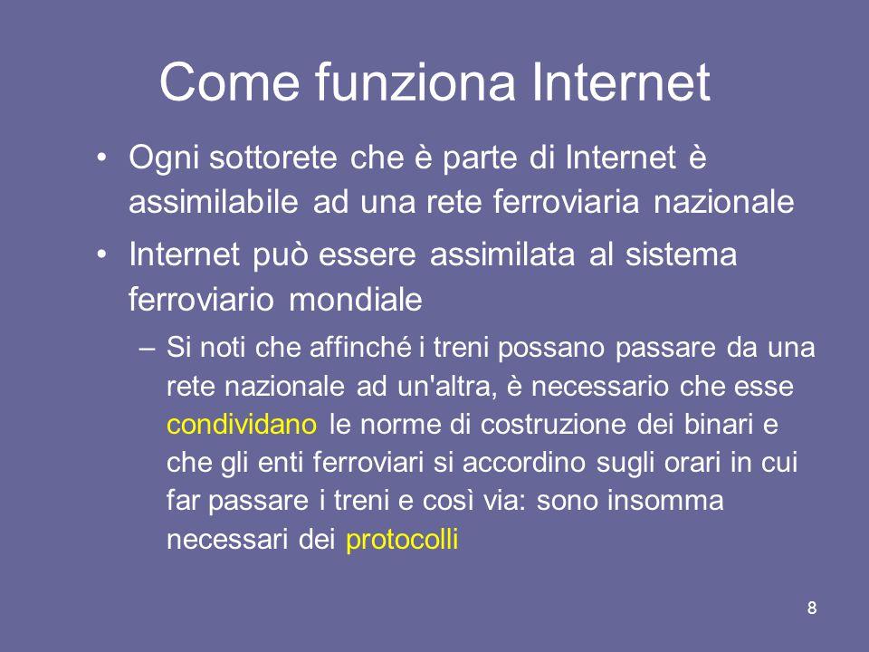 7 Come funziona Internet Abbiamo detto che Internet è una rete di reti telematiche Per capire meglio che cosa si intende con questa affermazione utilizziamo una similitudine con una infrastruttura che ci è molto più familiare: la rete ferroviaria