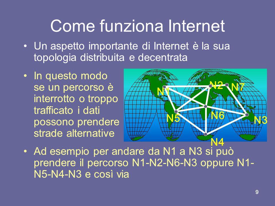 29 Gli strumenti di Internet Internet offre ai suoi utenti un insieme di strumenti di comunicazione Ognuno di questi strumenti fornisce diverse funzionalità e modalità di comunicazione e accesso alle informazioni