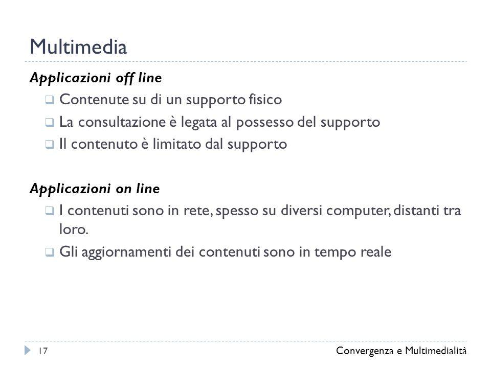 Multimedia Applicazioni off line  Contenute su di un supporto fisico  La consultazione è legata al possesso del supporto  Il contenuto è limitato dal supporto Applicazioni on line  I contenuti sono in rete, spesso su diversi computer, distanti tra loro.