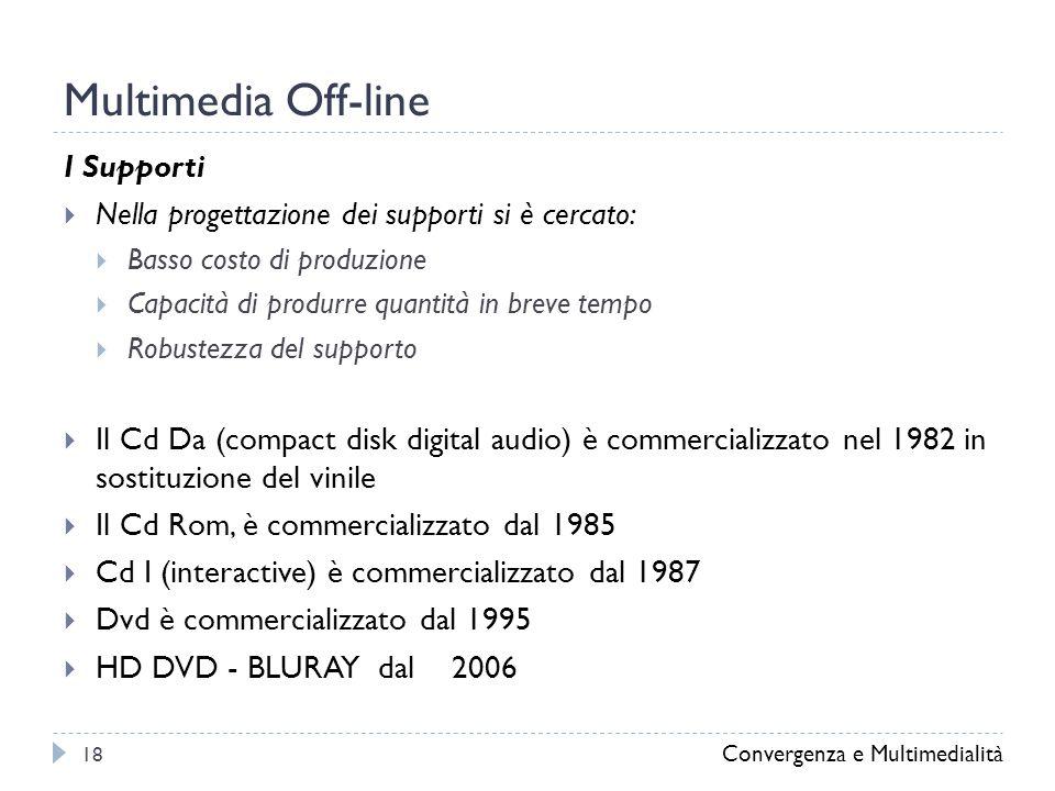 Multimedia Off-line I Supporti  Nella progettazione dei supporti si è cercato:  Basso costo di produzione  Capacità di produrre quantità in breve tempo  Robustezza del supporto  Il Cd Da (compact disk digital audio) è commercializzato nel 1982 in sostituzione del vinile  Il Cd Rom, è commercializzato dal 1985  Cd I (interactive) è commercializzato dal 1987  Dvd è commercializzato dal 1995  HD DVD - BLURAY dal 2006 18 Convergenza e Multimedialità