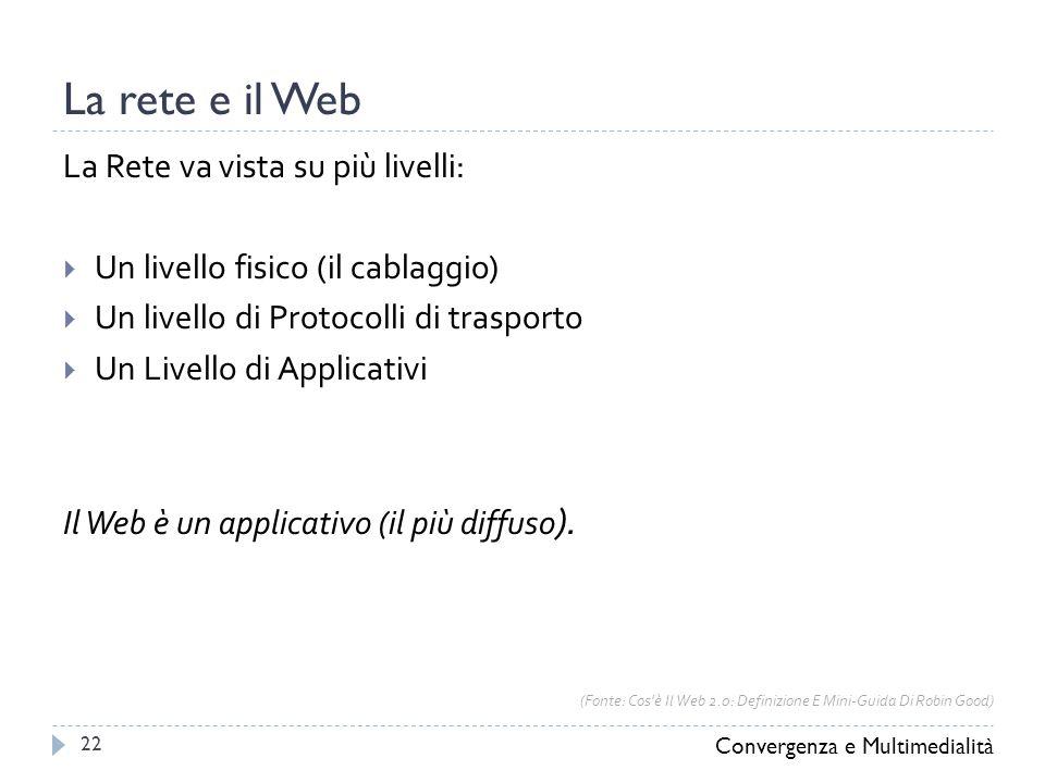 La rete e il Web La Rete va vista su più livelli:  Un livello fisico (il cablaggio)  Un livello di Protocolli di trasporto  Un Livello di Applicativi Il Web è un applicativo (il più diffuso ).