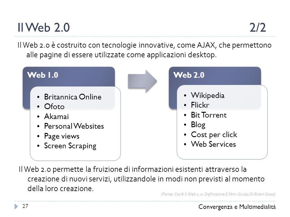 Il Web 2.02/2 Convergenza e Multimedialità 27 Il Web 2.0 è costruito con tecnologie innovative, come AJAX, che permettono alle pagine di essere utilizzate come applicazioni desktop.