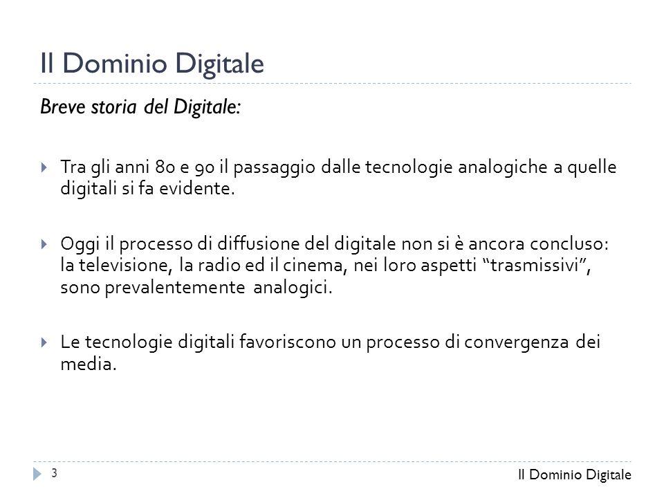 Il Dominio Digitale Breve storia del Digitale:  Tra gli anni 80 e 90 il passaggio dalle tecnologie analogiche a quelle digitali si fa evidente.