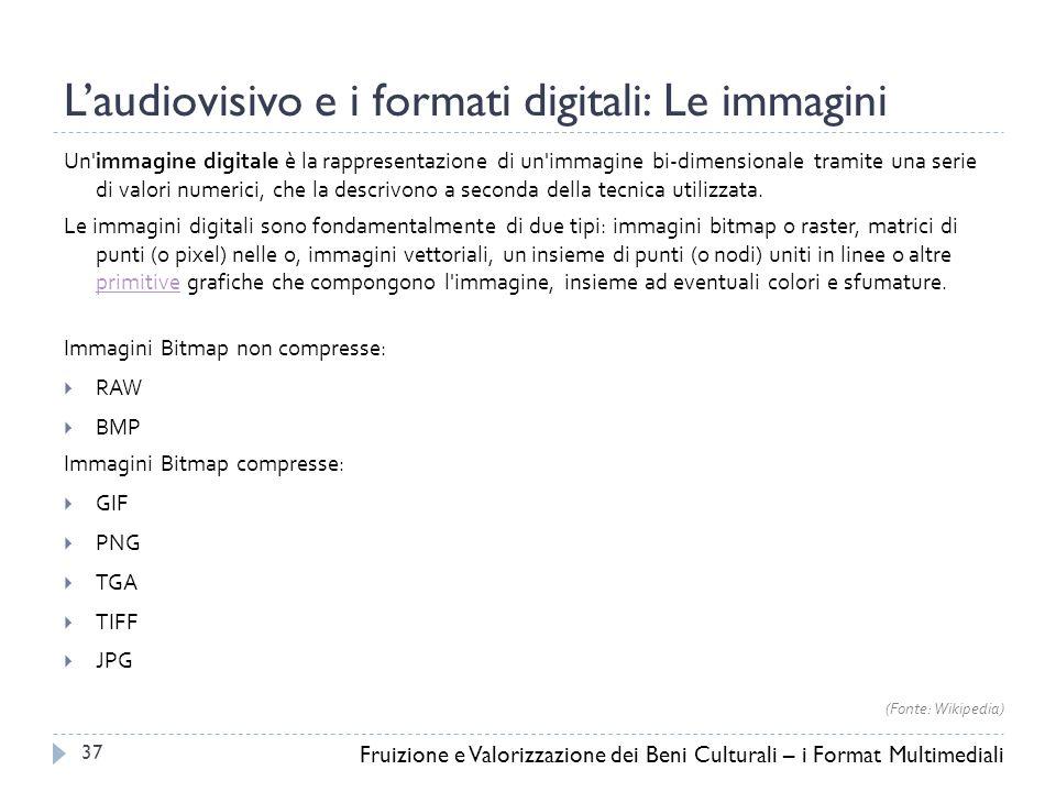 L'audiovisivo e i formati digitali: Le immagini Un immagine digitale è la rappresentazione di un immagine bi-dimensionale tramite una serie di valori numerici, che la descrivono a seconda della tecnica utilizzata.