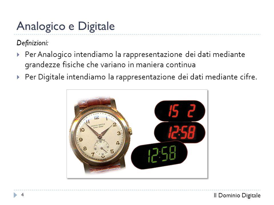 Analogico e Digitale Definizioni:  Per Analogico intendiamo la rappresentazione dei dati mediante grandezze fisiche che variano in maniera continua  Per Digitale intendiamo la rappresentazione dei dati mediante cifre.