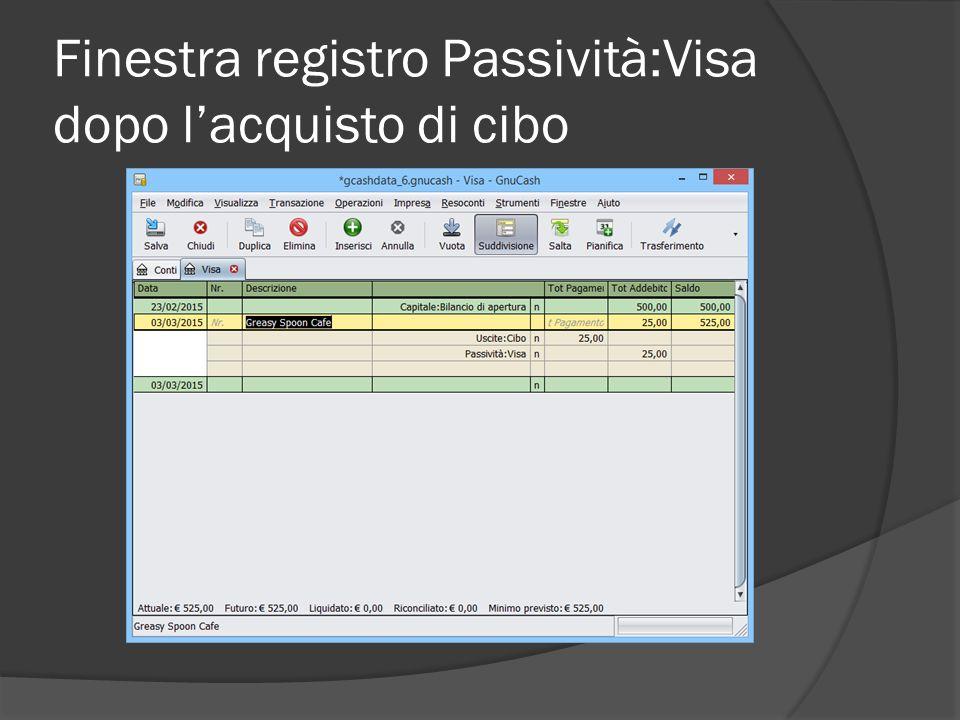 Finestra registro Passività:Visa dopo l'acquisto di cibo