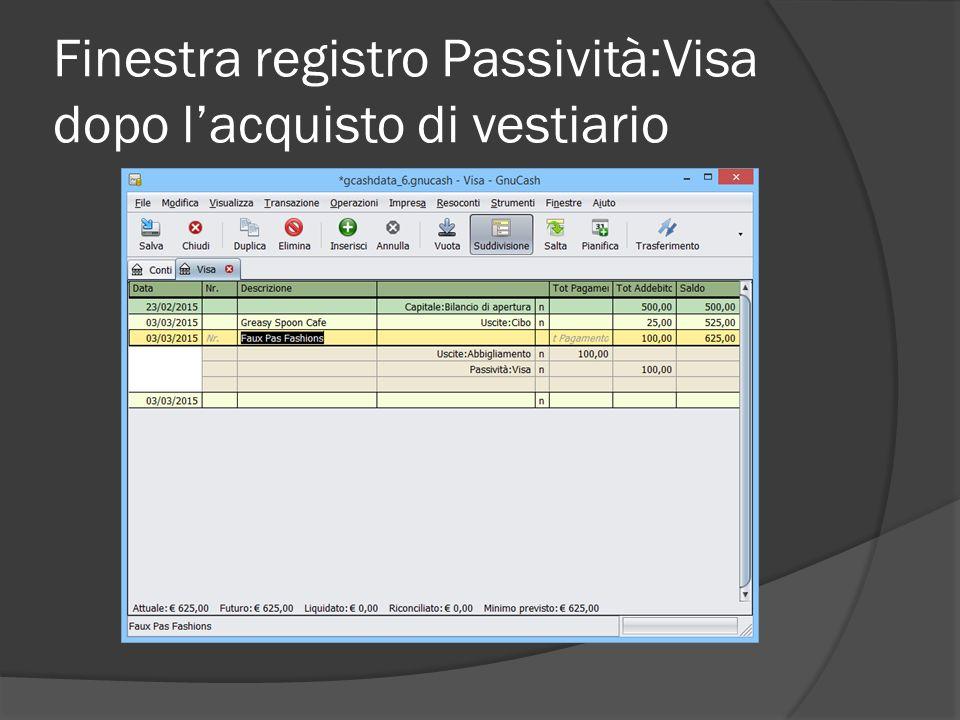 Finestra registro Passività:Visa dopo l'acquisto di vestiario