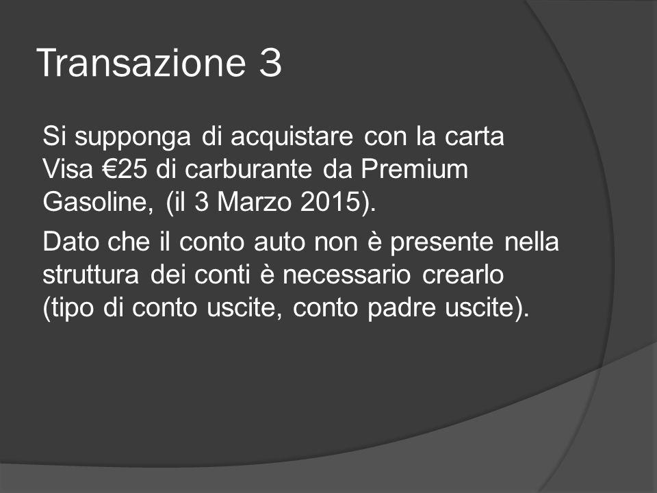Transazione 3 Si supponga di acquistare con la carta Visa €25 di carburante da Premium Gasoline, (il 3 Marzo 2015). Dato che il conto auto non è prese
