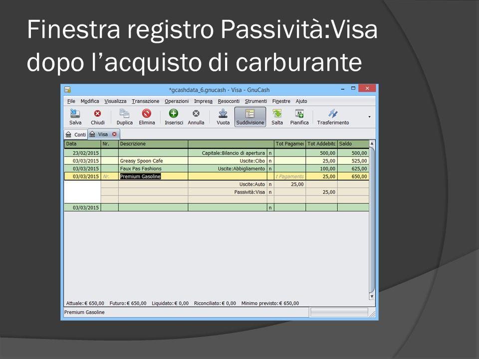 Finestra registro Passività:Visa dopo l'acquisto di carburante