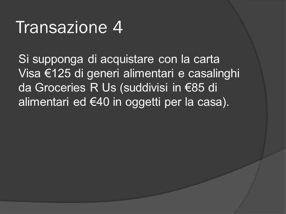 Transazione 4 Si supponga di acquistare con la carta Visa €125 di generi alimentari e casalinghi da Groceries R Us (suddivisi in €85 di alimentari ed