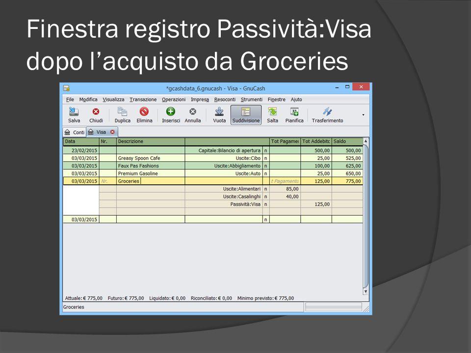 Finestra registro Passività:Visa dopo l'acquisto da Groceries
