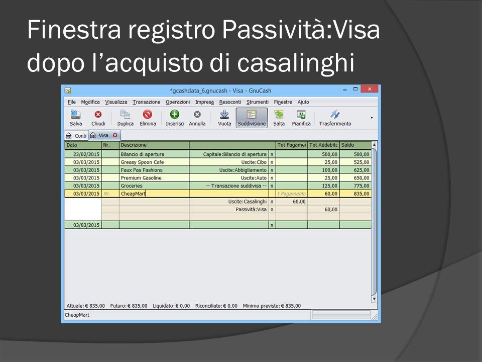 Finestra registro Passività:Visa dopo l'acquisto di casalinghi