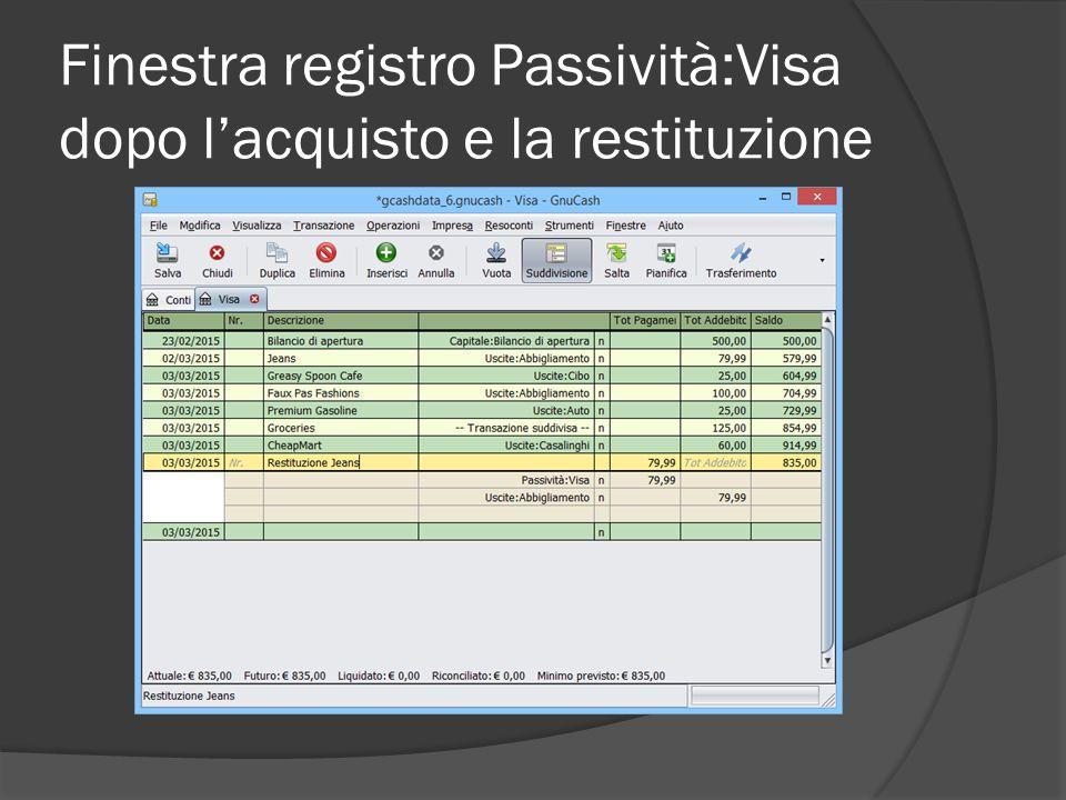Finestra registro Passività:Visa dopo l'acquisto e la restituzione