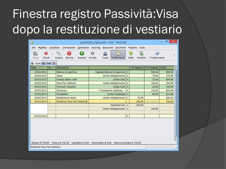 Finestra registro Passività:Visa dopo la restituzione di vestiario
