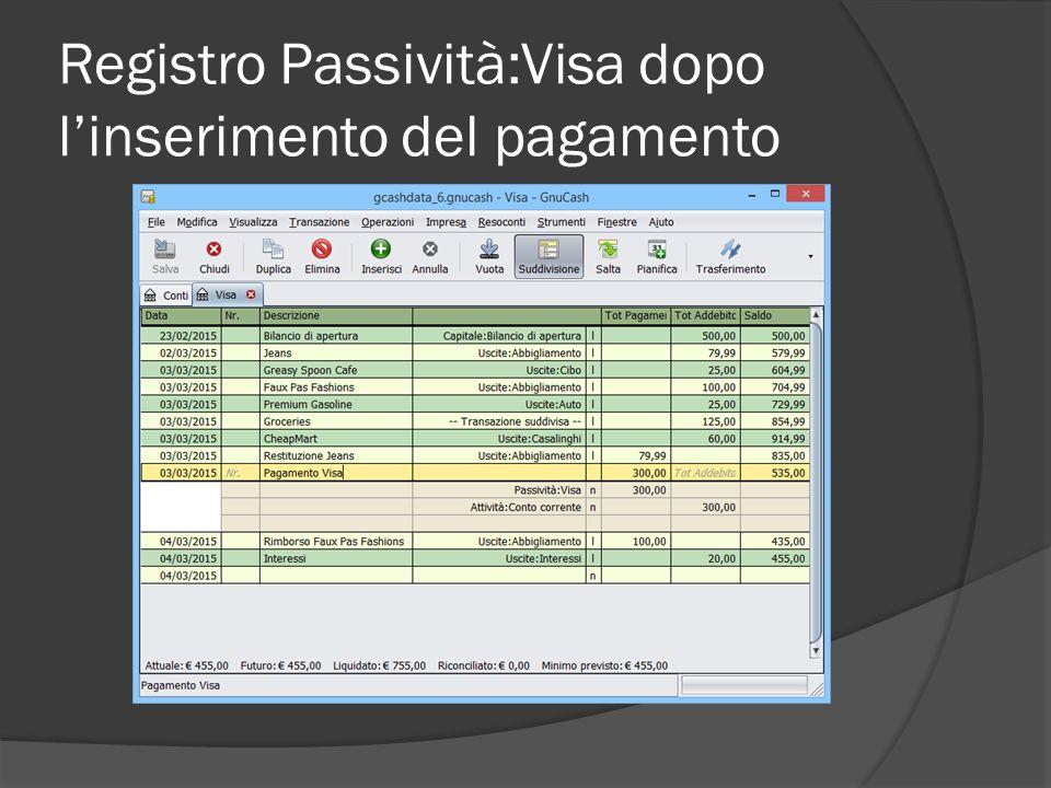 Registro Passività:Visa dopo l'inserimento del pagamento