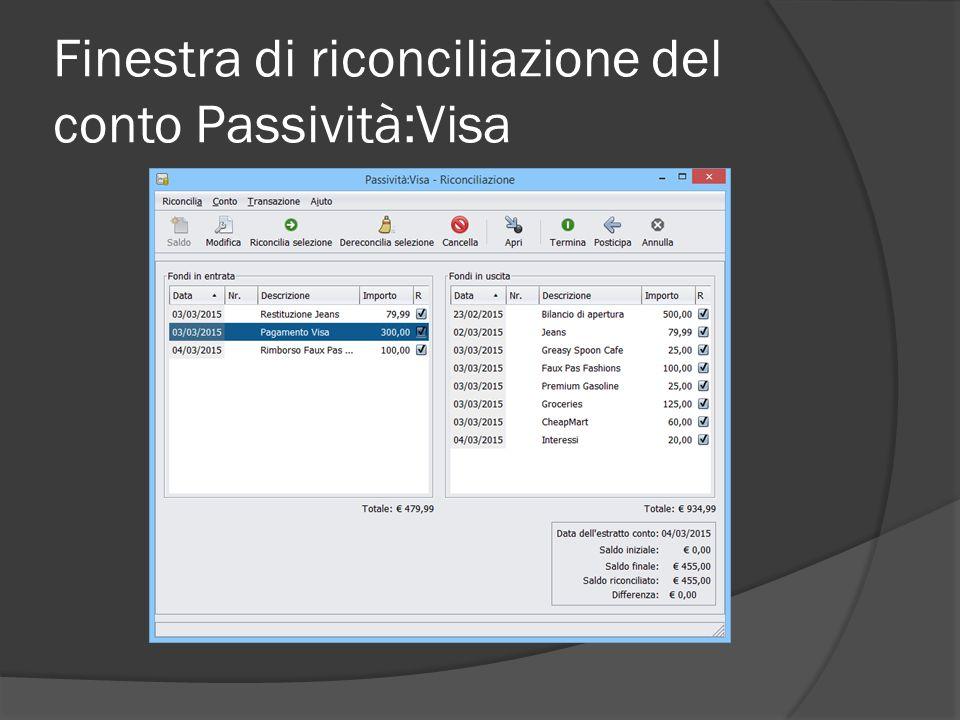 Finestra di riconciliazione del conto Passività:Visa