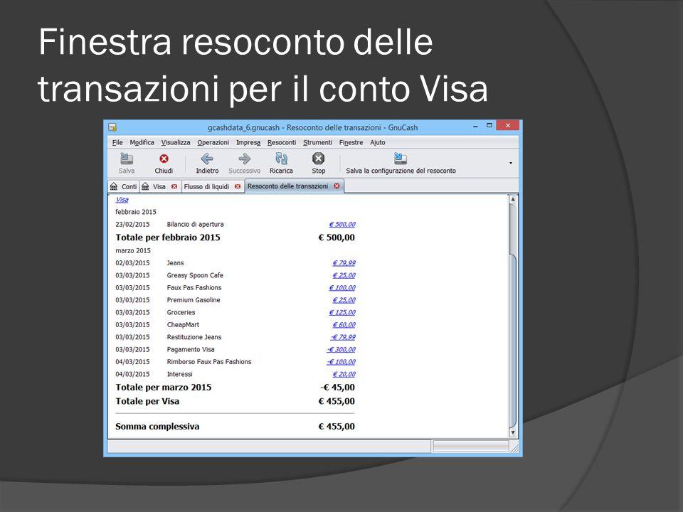 Finestra resoconto delle transazioni per il conto Visa