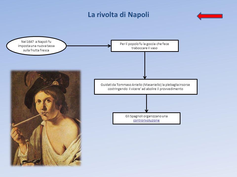 La rivolta di Napoli Nel 1647 a Napoli fu imposta una nuova tassa sulla frutta fresca Per il popolo fu la goccia che fece traboccare il vaso Guidati d