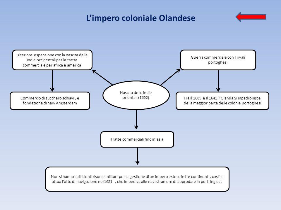 L'impero coloniale Olandese Nascita delle indie orientali (1602) Ulteriore espansione con la nascita delle indie occidentali per la tratta commerciale