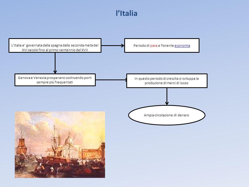 l'Italia Periodo di pace e fiorente economiaeconomia Genova e Venezia prosperano costruendo porti sempre più frequentati In questo periodo di crescita