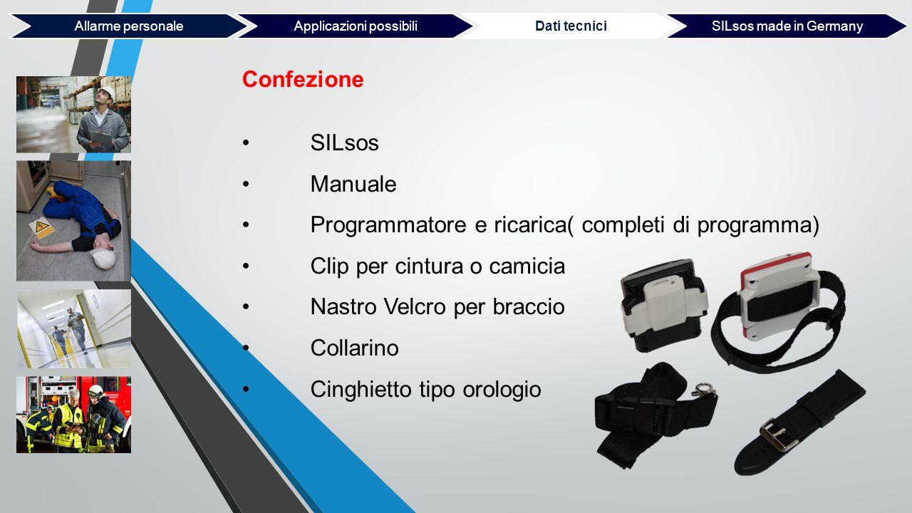 Confezione SILsos Manuale Programmatore e ricarica( completi di programma) Clip per cintura o camicia Nastro Velcro per braccio Collarino Cinghietto t