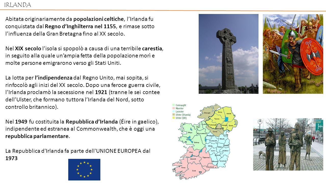 IRLANDA Abitata originariamente da popolazioni celtiche, l'Irlanda fu conquistata dal Regno d'Inghilterra nel 1155, e rimase sotto l'influenza della Gran Bretagna fino al XX secolo.