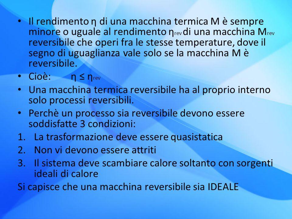Il rendimento η di una macchina termica M è sempre minore o uguale al rendimento η rev di una macchina M rev reversibile che operi fra le stesse tempe