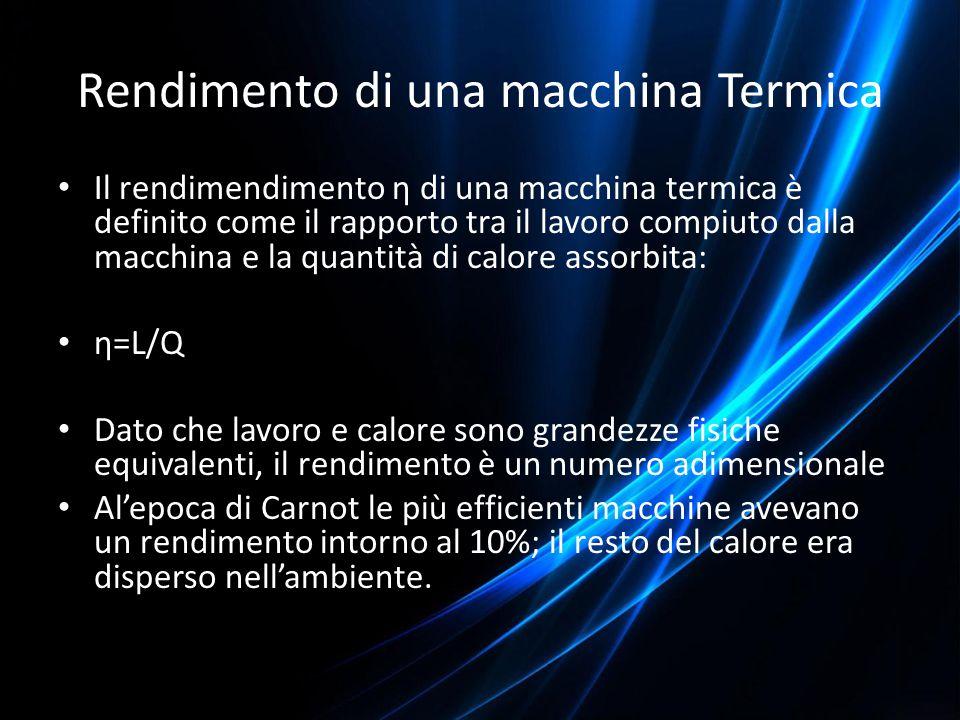Rendimento di una macchina Termica Il rendimendimento η di una macchina termica è definito come il rapporto tra il lavoro compiuto dalla macchina e la
