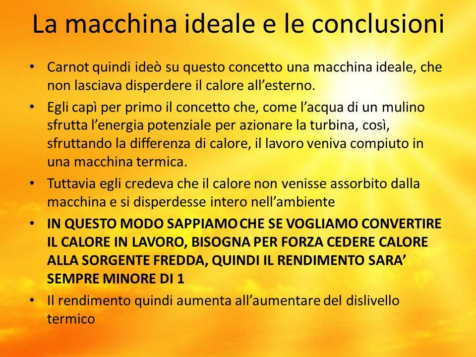 La macchina ideale e le conclusioni Carnot quindi ideò su questo concetto una macchina ideale, che non lasciava disperdere il calore all'esterno. Egli