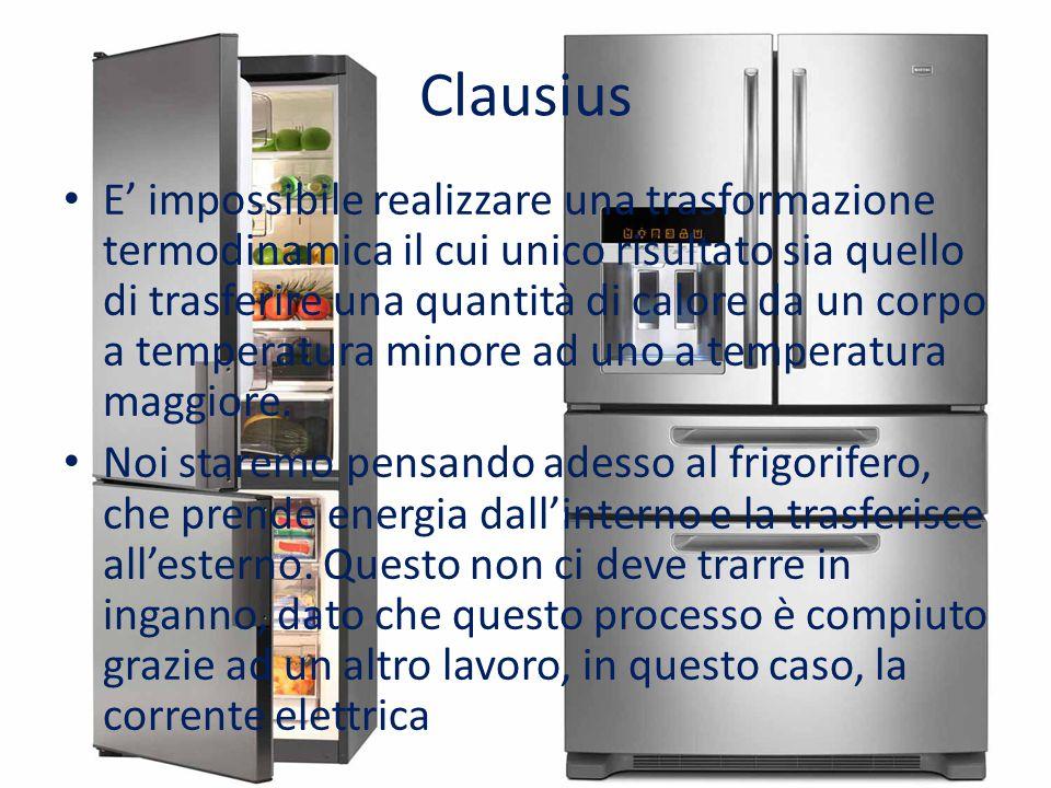 Clausius E' impossibile realizzare una trasformazione termodinamica il cui unico risultato sia quello di trasferire una quantità di calore da un corpo
