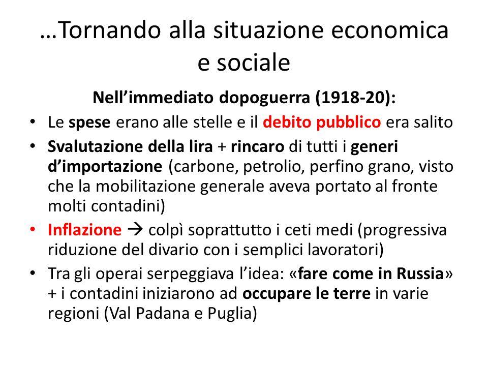 …Tornando alla situazione economica e sociale Nell'immediato dopoguerra (1918-20): Le spese erano alle stelle e il debito pubblico era salito Svalutaz