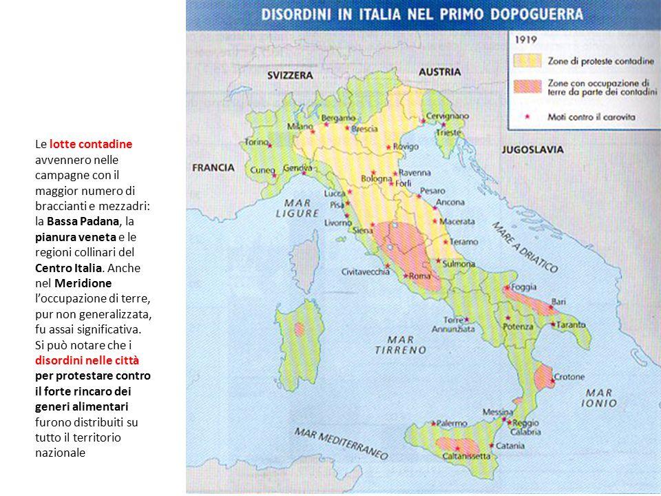 Le lotte contadine avvennero nelle campagne con il maggior numero di braccianti e mezzadri: la Bassa Padana, la pianura veneta e le regioni collinari
