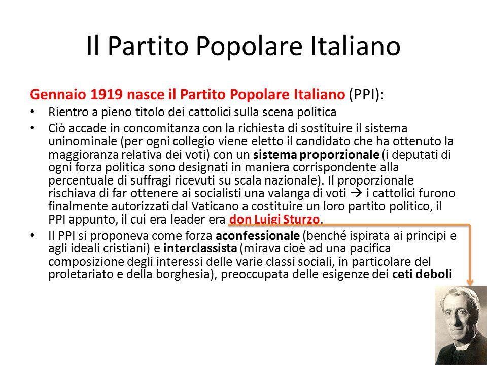 Il Partito Popolare Italiano Gennaio 1919 nasce il Partito Popolare Italiano (PPI): Rientro a pieno titolo dei cattolici sulla scena politica Ciò acca