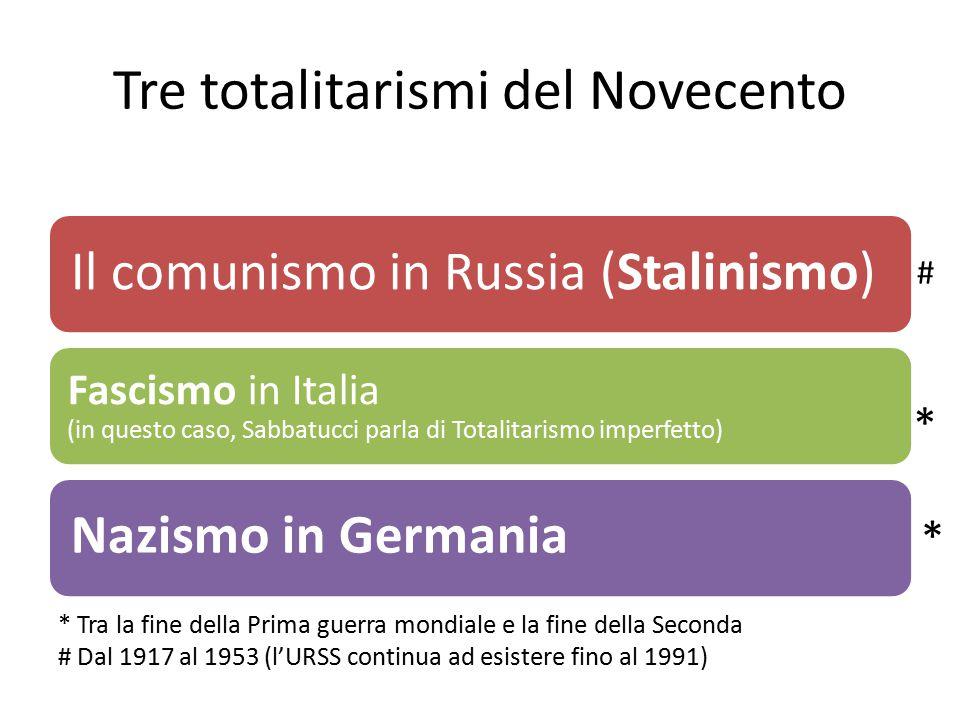 Tre totalitarismi del Novecento Il comunismo in Russia (Stalinismo) Fascismo in Italia (in questo caso, Sabbatucci parla di Totalitarismo imperfetto)