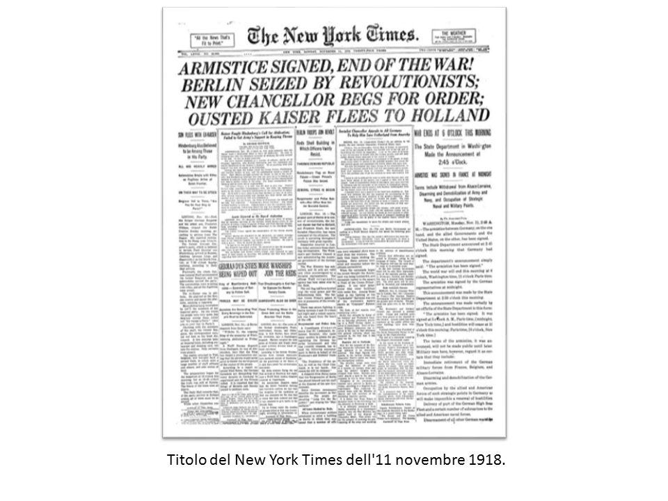 Titolo del New York Times dell'11 novembre 1918.