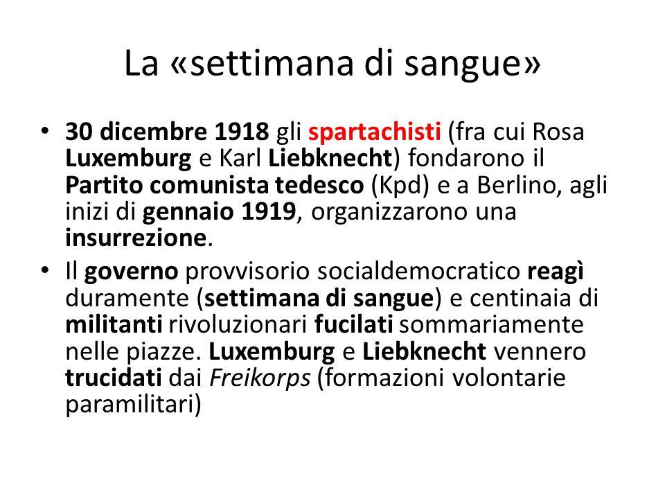 La «settimana di sangue» 30 dicembre 1918 gli spartachisti (fra cui Rosa Luxemburg e Karl Liebknecht) fondarono il Partito comunista tedesco (Kpd) e a