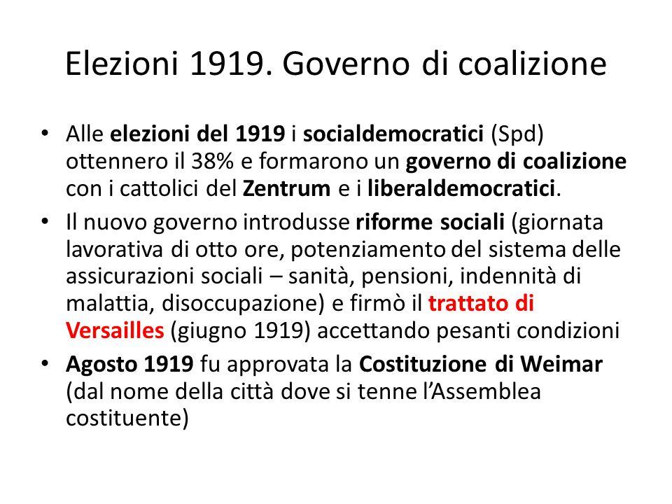 Elezioni 1919. Governo di coalizione Alle elezioni del 1919 i socialdemocratici (Spd) ottennero il 38% e formarono un governo di coalizione con i catt