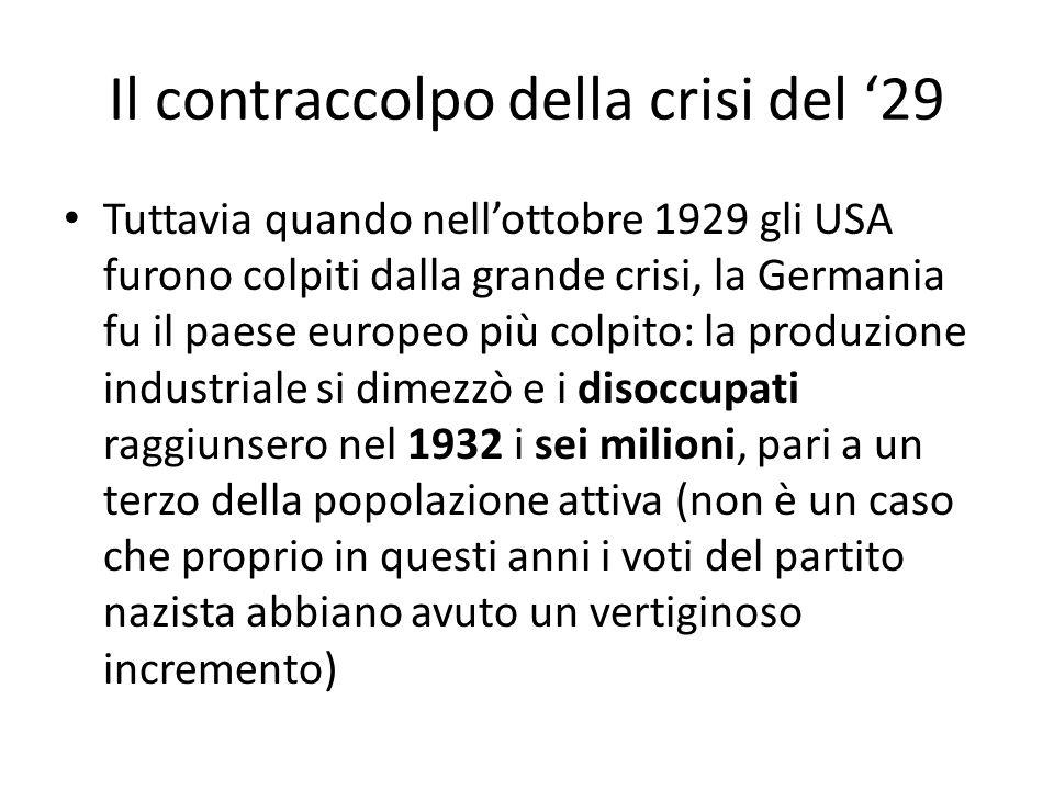 Il contraccolpo della crisi del '29 Tuttavia quando nell'ottobre 1929 gli USA furono colpiti dalla grande crisi, la Germania fu il paese europeo più c