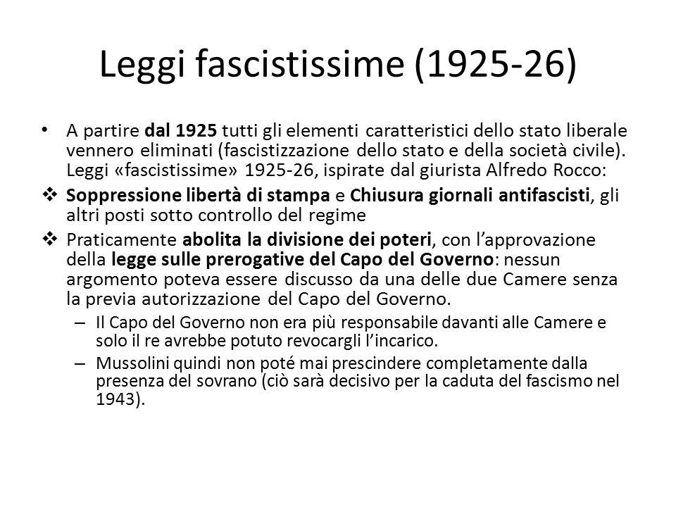 Leggi fascistissime (1925-26) A partire dal 1925 tutti gli elementi caratteristici dello stato liberale vennero eliminati (fascistizzazione dello stat