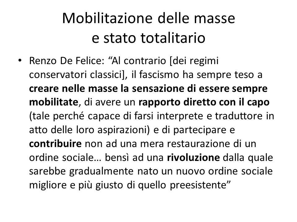 """Mobilitazione delle masse e stato totalitario Renzo De Felice: """"Al contrario [dei regimi conservatori classici], il fascismo ha sempre teso a creare n"""