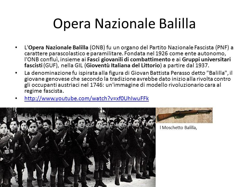 Opera Nazionale Balilla L'Opera Nazionale Balilla (ONB) fu un organo del Partito Nazionale Fascista (PNF) a carattere parascolastico e paramilitare. F