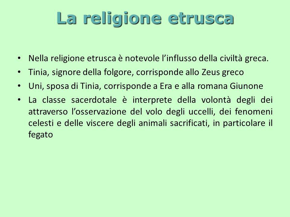 La religione etrusca Nella religione etrusca è notevole l'influsso della civiltà greca.