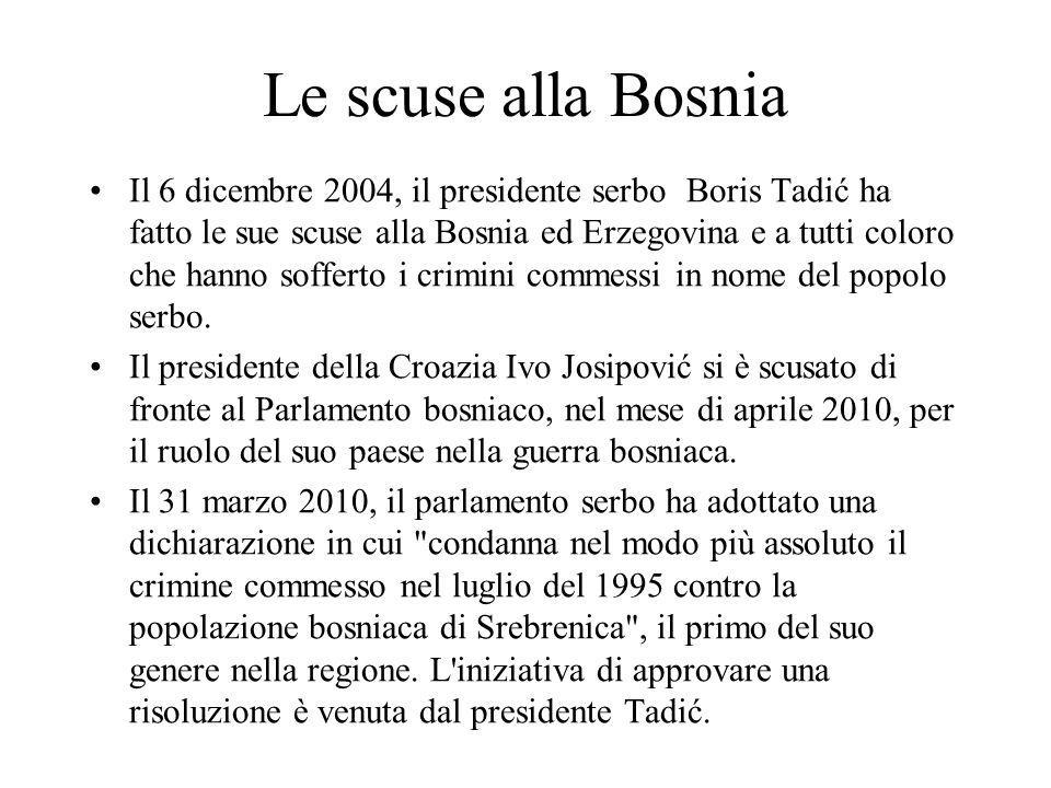 Le scuse alla Bosnia Il 6 dicembre 2004, il presidente serbo Boris Tadić ha fatto le sue scuse alla Bosnia ed Erzegovina e a tutti coloro che hanno so