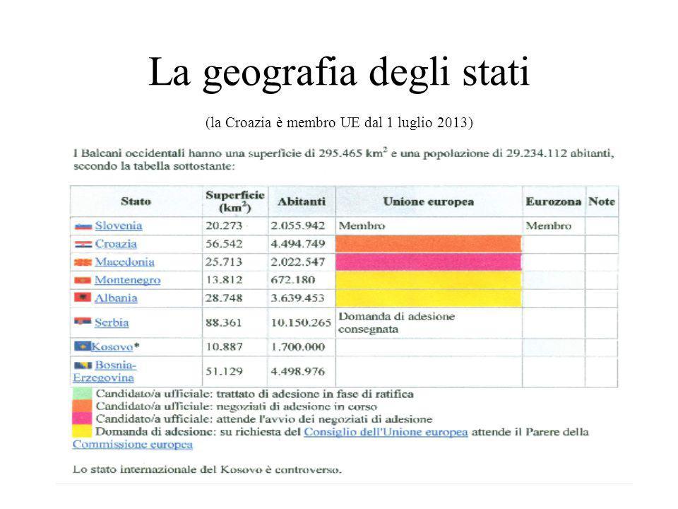La geografia degli stati (la Croazia è membro UE dal 1 luglio 2013)