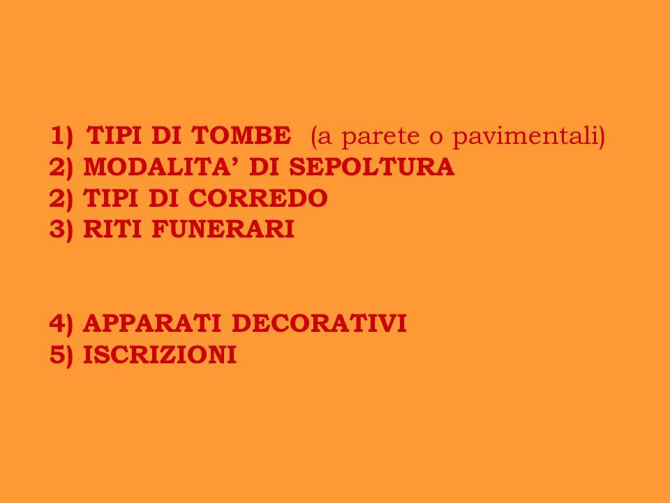 1)TIPI DI TOMBE (a parete o pavimentali) 2) MODALITA' DI SEPOLTURA 2) TIPI DI CORREDO 3) RITI FUNERARI 4) APPARATI DECORATIVI 5) ISCRIZIONI