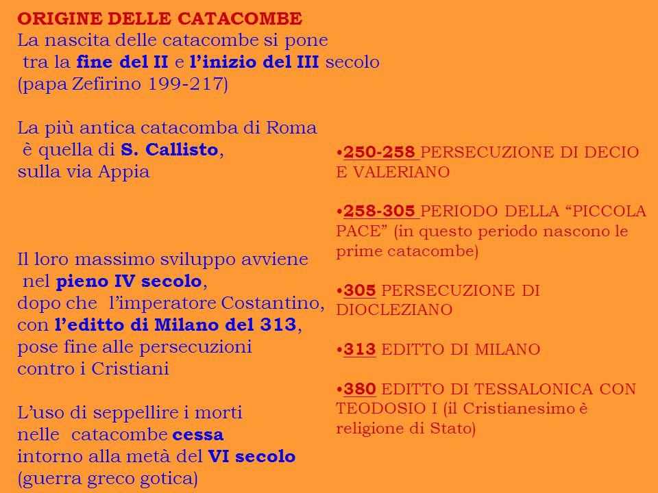 ORIGINE DELLE CATACOMBE La nascita delle catacombe si pone tra la fine del II e l'inizio del III secolo (papa Zefirino 199-217) La più antica catacomb
