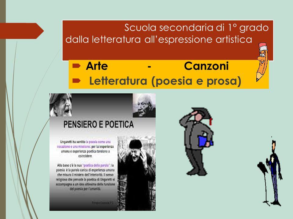 Scuola secondaria di 1° grado dalla letteratura all'espressione artistica  Arte - Canzoni  Letteratura (poesia e prosa)