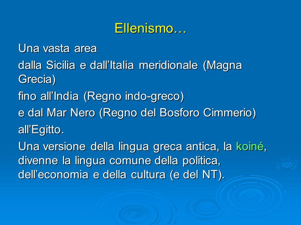 Ellenismo… Una vasta area dalla Sicilia e dall'Italia meridionale (Magna Grecia) fino all'India (Regno indo-greco) e dal Mar Nero (Regno del Bosforo Cimmerio) all'Egitto.