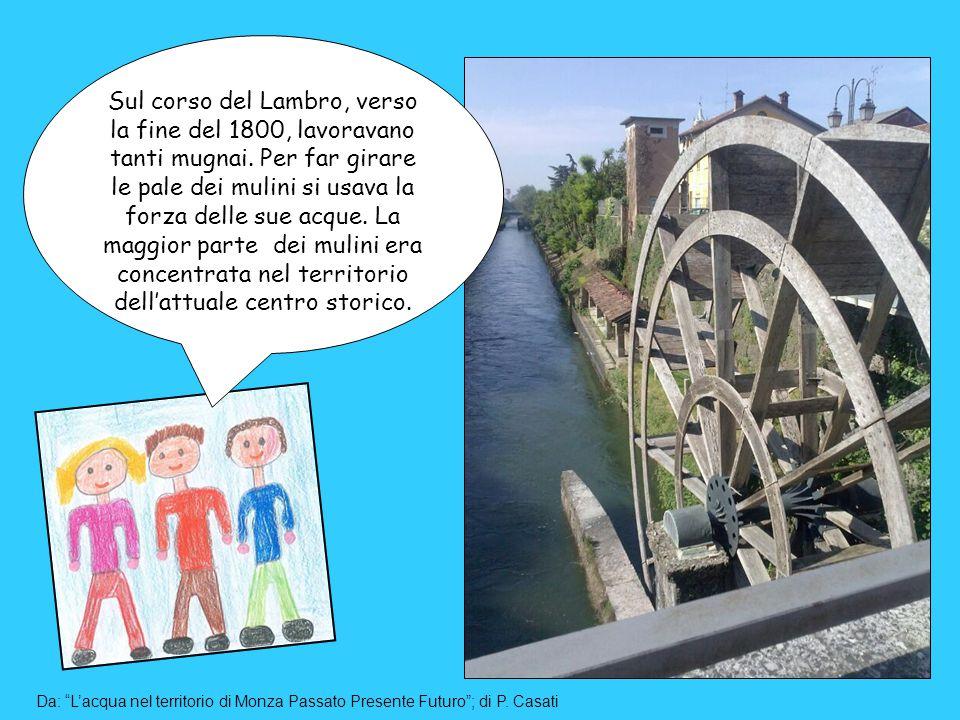Sul corso del Lambro, verso la fine del 1800, lavoravano tanti mugnai. Per far girare le pale dei mulini si usava la forza delle sue acque. La maggior